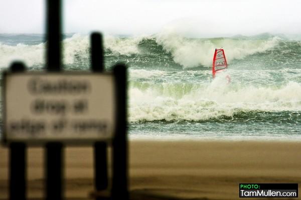 Finn Mullen windsurfing at Benone Strand