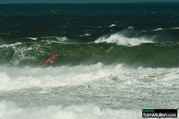 Finn Mullen on a big wave at Benone Strand