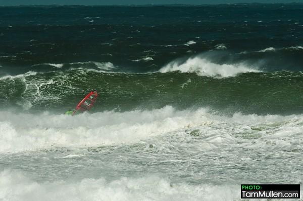 Finn Mullen on a big wave at Benone Strand