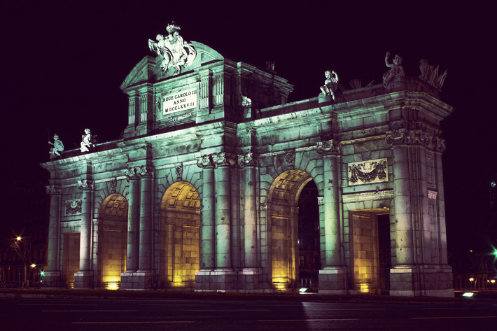 "Puerta de Alcalá (""Alcalá Gate"") in Madrid Spain at Night"