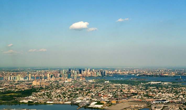 New York Skyline on approach to Newark Airport EWR