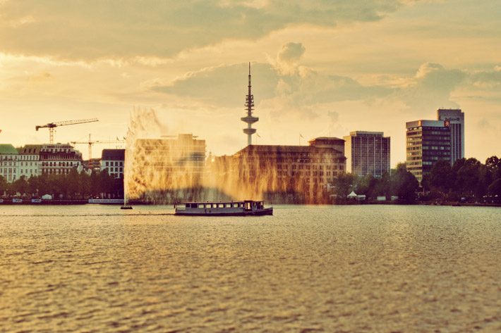 Binnenalster Lake Fountain Hamburg