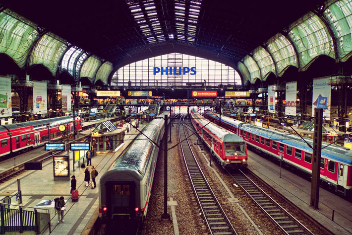 Hamburg Station. It's so easy, quick & cheap to travel around Germany by train