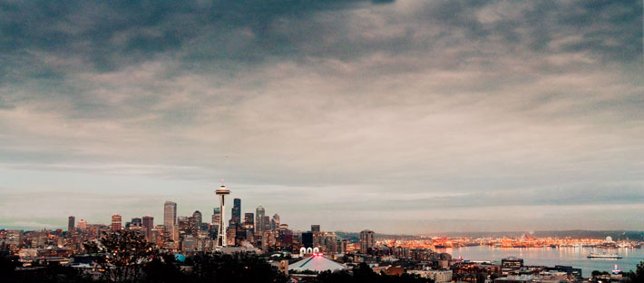 Seattle skyline dusk panorama from Kerry Park